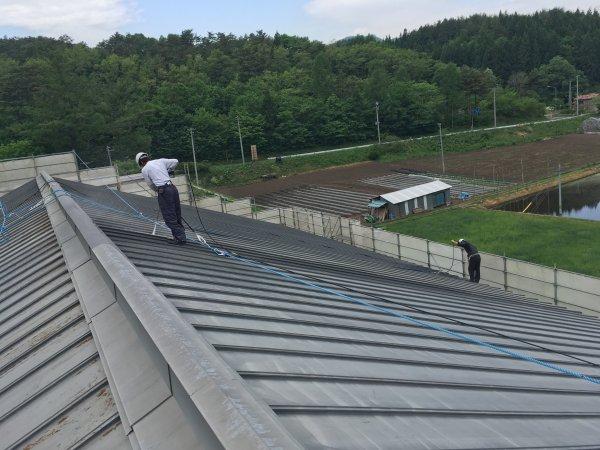 体育館屋根塗装 水洗い